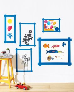 """Think outside of the frame and dress up your walls with these creative ideas.Tape It UpDisplay artwork on your walls with handmade """"frames"""" out of painter's tape. You can also create wall art out of washi tape, from your local craft store, to create fun patterns and designs, without the worry of stripping your paint."""