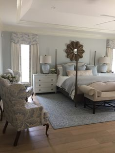 20 Popular Bedroom Paint Colors That Give You Positive Vibes Master Bedroom Soft Blues Dark Woods Rustic Master Bedroom, Master Bedroom Design, Home Decor Bedroom, Bedroom Ideas, Bedroom Curtains, Modern Furniture, Dark Wood Bedroom Furniture, Master Master, Beach Cottages
