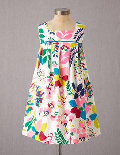 Pleated Print Dress - Boden. Square neck, flat piping, buttons in back. Cute, easy!