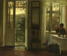 Carl Vilhelm Holsøe - At the Window (1900)