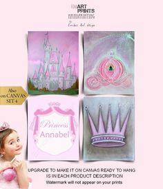 Princess Wall Art, Princess Nursery, Princess Castle, Nursery Art, Girl Nursery, Nursery Decor, Cinderella Coach, Crown Art, Beautiful Fairies