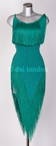 Sophie Ellis Bextor zircon Latin dress - shiny, sparkly emerald green fringed dress