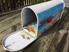 Hand Painted  Mailbox Seashells at the beach by OlenkasArt on Etsy