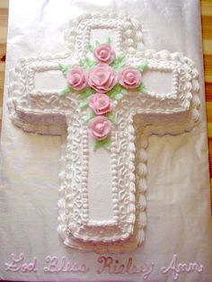 Baptism cross cake, with blue roses and name in blue...love