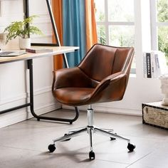 Shop OVIOS Office Chair,Leather Computer Chair for Home Office or Conference.Swivel Desk Chair with Chrome Base and Arms - Overstock - 29822812 Desk Chair Comfy, Work Chair, Diy Chair, Swivel Chair, Modern Desk Chair, Cafe Chairs, Dining Chairs, Wooden Chairs, Desk Chairs