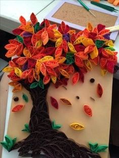 Autumn tree paper quilling by addie - Quilling Paper Crafts Neli Quilling, Origami And Quilling, Quilling Paper Craft, Paper Crafts, Quilling Ideas, Paper Quilling Tutorial, Paper Quilling Patterns, Quiling Paper Art, Quilling Letters