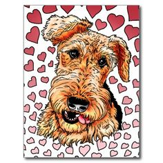 Perfect for Valentine's Day or ANY day... Happy Airedale Terrier is surrounded with hearts all in a lovely pink theme. Lots of Dale Lovin for all dog lovers when you give this as gift or treat yourself!