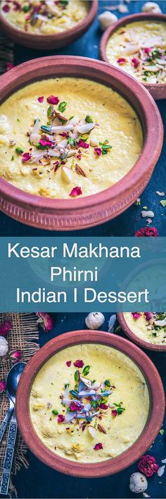 Kesar Makhana Phirni has this beautiful blend of full cream milk, makhana, saffron, cardamom and dry fruits. Serve it in clay bowls for authentic flavour and experience. Indian I sweet I dessert I traditional I authentic I Best I easy I quick I Perfect I