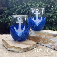 Anchor Glasses, Glitter Wine Glass, Stemless Wine Glass, Etched Glass, Nautical Drinkware, Navy glasses, Gift for Home by AnchorInCreativity on Etsy