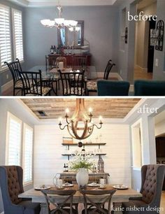 45 Beautiful Farmhouse Dining Room Design Ideas Bring Romantic Look - Home and Gardens Home Renovation, Home Remodeling, Dining Room Inspiration, Dining Room Design, Dining Rooms, Farm House Dinning Room, Shelves In Dining Room, Dining Area, Dining Room Feature Wall