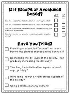 Behavior Support & Functional Behavior Assessment Checklist (Free) These are free forms that you can use when doing a behavioral assessment.These are free forms that you can use when doing a behavioral assessment. Behavior Plans, Classroom Behavior Management, Student Behavior, Behavior Charts, Behavior Consequences, Behavior Tracking, Behavior Analyst, Behaviour Management, Autism Classroom
