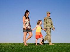 walking military family
