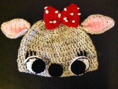 Clarice Reindeer Crochet Hat Christmas by Doodlebugphotoprops, $13.00