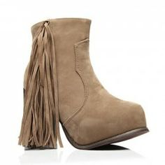 Simple Women's Short Boots With Chunky Heel Suede and Tassels Design