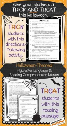 FREE! Looking for a fun and educational way to celebrate Halloween in your classroom? Then, you'll love the activities in this resource that give your students a trick AND treat. Perfect for middle school students!