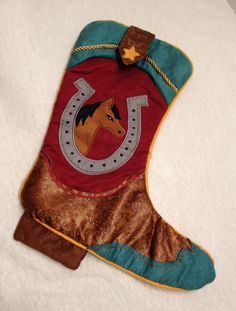 Western Cowboy Boot Christmas Stocking by Dan Dee Collectors Choice Horse #DanDee