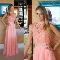 Elegant a-line high neck coral long chiffon prom dress evening dress