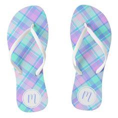 #ad Blue Plaid, Pretty In Pink, Flip Flops, Monogram, Sandals, Pattern, Prints, Color, Style