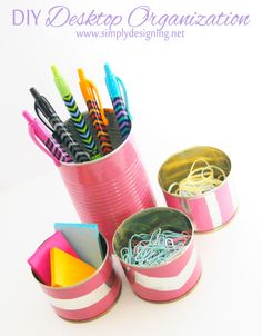 $1 DIY Desktop Organization | for less then $1 you can DIY your own cute desktop accessories | #desk #office #diy