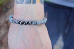 Valentine's Jewelery for HIM!!  Men's Marble and Hematite Bracelet by FemmeCord on Etsy, $25.00