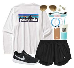 """""""Patagonia"""" by lauren-hailey ❤ liked on Polyvore featuring Patagonia, NIKE, Vineyard Vines, Ray-Ban, Tory Burch and Kate Spade"""