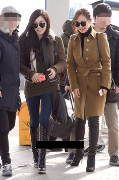 SNSD yuri & tiffany winter airport fashion