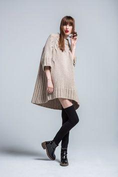 Spencer Vladimir | Fall | AucciKnitting | Knitting | Knitting project | Knitwear 2016 | Moda | Girl | Knitting braids | Dresses | Hand made | Knit dress | Lace | Lace dress | Kleid | Podium | Runway | Подиум | Мода | Вязание | Ручная работа | Вязание спицами | Бежевое платье | Платье свитер