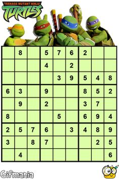 Help the Teenage Mutant Ninja Turtles to complete this Sudoku! Numeracy Activities, Math Games, Teenage Mutant Ninja Turtles, Teenage Turtles, Brain Teasers For Kids, Magic Squares, Teaching Schools, Word Puzzles, Kids Zone