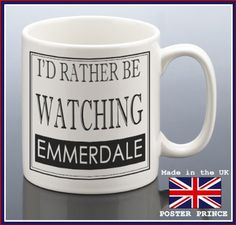09683c69bb4 I d rather be watching EMMERDALE - blue ceramic mug - unique and easy gift  idea - Microwave and dishwasher safe  Amazon.co.uk  Kitchen   Home