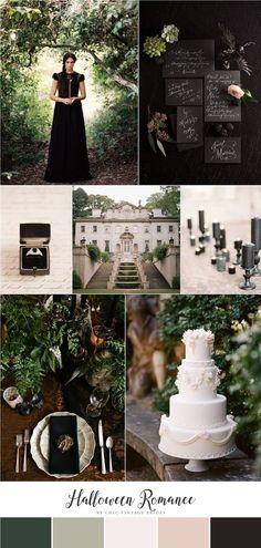 Halloween Romance - Wedding Inspiration in Black, Green & Neutrals