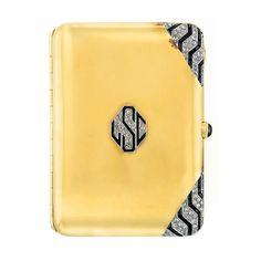 circa 1920 Art Deco gold, platinum, diamond and black onyx cigarette case - Doyle New York
