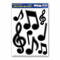 """Musical Notes Wall Clings by Century Novelty. $3.59. Music Decorations Spice up the Party! The musical note decorations are the perfect addition to your rock and roll party decorating. No matter what your event these music note decorations will be sure to make it a hit. Eight music note wall clings per sheet. Approximately 3 1/4"""" 10"""" long. Adheres to most smoothe surfaces. Reusable. Music decorations like these are perfect for school dances, Elvis or Blues Brothers part..."""