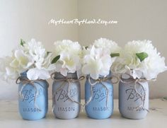 Hey, I found this really awesome Etsy listing at https://www.etsy.com/listing/254303177/baby-blue-and-gray-distressed-mason-jars