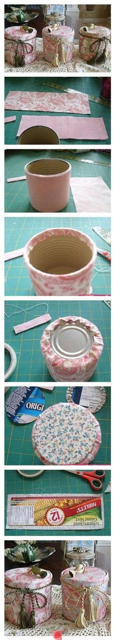 Jazz up your Old Tins to use as Fancy Storage Containers! Glue Fabric to Cardboard; Glue to Tin. Easy as! (Optional: Cushion Tin with Foam/Extra Fabric first; Line Inside of Tin; Attach Handles to Tin Lids) Tin Can Crafts, Diy And Crafts, Arts And Crafts, Diy Projects To Try, Craft Projects, Craft Ideas, Decor Ideas, Altered Tins, Creation Deco