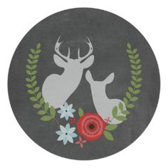 A rustic wedding invitation featuring an illustration of the busts of a buck and doe surrounded by red and blue flowers and greenery. Personalize the text. Background is chalkboard inspired. #wedding #rustic #wedding #chalkboard #wedding #deer #wedding #buck #and #doe #chalk wedding