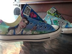 Disney Themed Shoes Beauty and the Beast by ChewyTs on Etsy Disney Wedding Dresses, Disney Princess Dresses, Disney Dresses, Disney Weddings, Fairytale Weddings, Themed Weddings, Intimate Weddings, Teal Converse, Converse Shoes