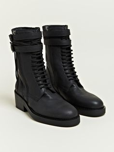 Ann Demeulemeester Women's Vitello Lace Up Boots, love the tough look. Crazy Shoes, Me Too Shoes, Men's Shoes, Cool Boots, Lace Up Boots, Fashion Boots, Heeled Boots, Combat Boots, Ann Demeulemeester