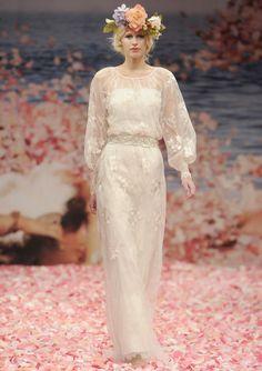 Fashion Round Neck Bateau Long Sleeves Straps Lace Tulle Belt Slim Floor-length Wedding Dresses - Wedding Dresses