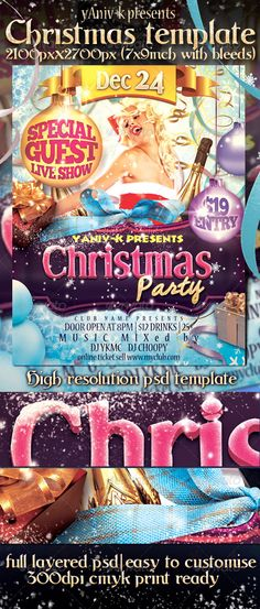 Christmas Party Flyer Template This amazing template designed to promote any kind of christmas event ¨C The file can be used for Flyer/Poster/Greeting cardFEATURS: The PSD file dimensions are: 2100px x 2700px (7x9 inches with bleeds) 300dpi resolution Color mode: CMYK Print ready The file is well organized, separated in color groups and layers named