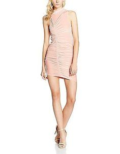 8 (Manufacturer Size:X-Small), Pink, Jaded London Women's Ruched Velvet High Nec