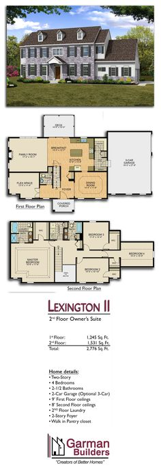 The Lexington II floor plan by Garman Builders. 4 bdrms, 2.5 baths, 2 stories, 2-car garage, 2,776 sq. ft.