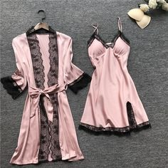 2019 Women Pajamas Sets Satin Sleepwear Silk 4 Pieces Nightwear Pyjama Spaghetti Strap Lace Sleep Lounge Pijama With Chest Pads Cute Sleepwear, Satin Sleepwear, Sleepwear Sets, Nightwear, Ropa Interior Babydoll, Backless Mini Dress, Pajamas Women, Sexy Pajamas, Night Gown
