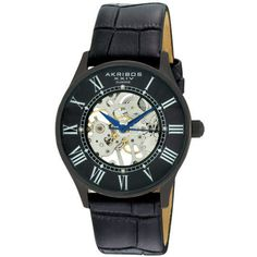 Akribos XXIV Men's Slim Mechanical Watch in Black - Beyond the Rack $54.99