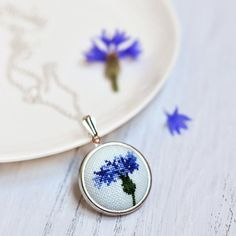 Cornflower Blue Necklace. Blue Statement by TouchTheRainbow