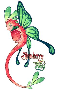 [Closed] Strawberry Fairy Pacapillar Auction by toripng Cute Fantasy Creatures, Mythical Creatures Art, Cute Creatures, Magical Creatures, Cute Animal Drawings, Kawaii Drawings, Cute Drawings, Arte Furry, Furry Art