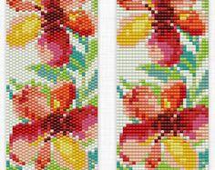 Flower Loom Pattern,Peyote Bracelet Pattern, Bead Loom Pattern, Peyote Bead Pattern, Loom Bracelet Pattern, Loom Beading, Beading Pattern