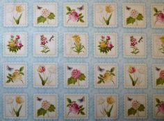 Makower 100% cotton fabric Patchwork Quilting Botanical Flower labels 25sq panel   eBay
