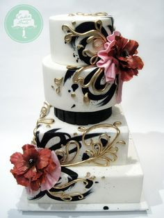 This striking design features hand painting and handmade fondant flowers.    -- Chef Nicky - Cake Over Heels (Singapore) - http://www.facebook.com/cakeoverheels