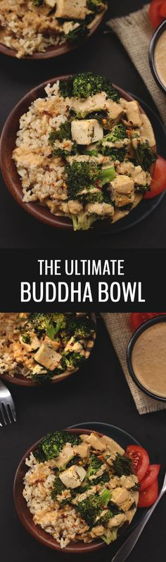 millions of recipes for Buddha Bowls out there but I can assure you this one is the ultimate! With veggies, brown rice, tofu in a flavour-packed peanut sauce, the ultimate buddha bowl will become your go-to vegetarian dinner recipe! Going Vegetarian, Vegetarian Recipes Dinner, Vegetarian Cooking, Dinner Recipes, Becoming Vegetarian, Vegetarian Protein, Dinner Ideas, Best Gluten Free Recipes, Whole Food Recipes