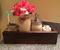 Mason Jar Planter-Rustic Bathroom Decor-Mason Jar Bathroom Decor-Mason Jar Planter-Country Bathroom-Ball-Bathroom Organizer-Soap Dispenser   https://www.etsy.com/listing/485759986/mason-jar-planter-rustic-bathroom-decor?ref=shop_home_feat_2